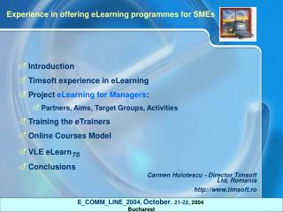 Introduction Timsoft experience in eLearning Project  eLearning for Managers :