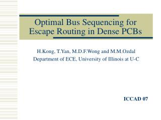 Optimal Bus Sequencing for Escape Routing in Dense PCBs