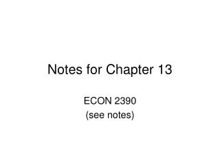 Notes for Chapter 13