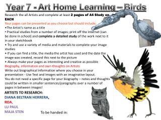 Year  7  - Art Home Learning –  Birds