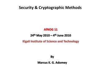 Security & Cryptographic Methods