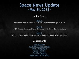 Space News Update - May 28, 2012 -