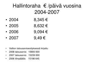 Hallintoraha  � /p�iv� vuosina 2004-2007