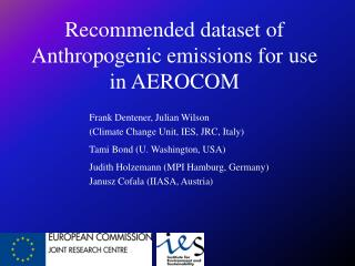 Recommended dataset of Anthropogenic emissions for use in AEROCOM