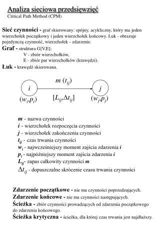 Analiza sieciowa przedsięwzięć Critical Path Method (CPM)