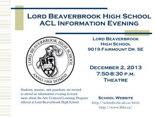 Lord Beaverbrook High School ACL Information Evening