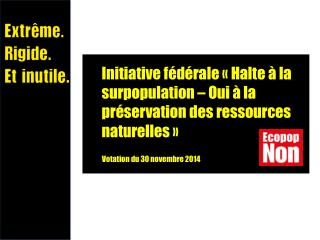 Initiative fédérale «Halte à la surpopulation – Oui à la préservation des ressources naturelles»