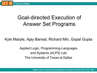 Goal-directed Execution of Answer Set Programs