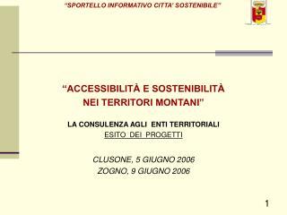 """""""ACCESSIBILITÀ E SOSTENIBILITÀ  NEI TERRITORI MONTANI"""" LA CONSULENZA AGLI  ENTI TERRITORIALI"""