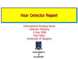 Near Detector Report