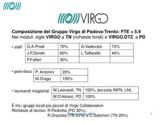 Composizione del Gruppo Virgo di Padova-Trento: FTE = 5.9