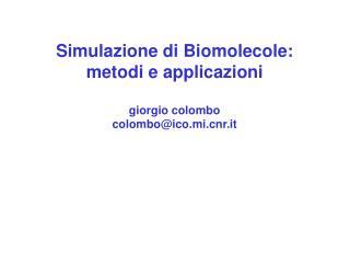 Simulazione di Biomolecole: metodi e applicazioni giorgio colombo colombo@ico.mir.it