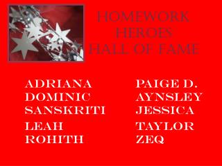 Homework Heroes Hall of Fame
