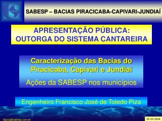 SABESP � BACIAS PIRACICABA-CAPIVARI-JUNDIA�