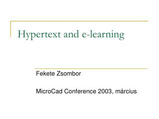 Hypertext and e-learning