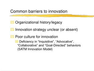 Common barriers to innovation