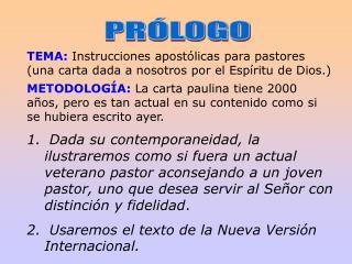 TEMA:  Instrucciones apostólicas para pastores