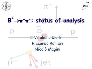 B º  π + π - : status of analysis