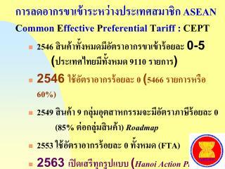 การลดอากรขาเข้าระหว่างประเทศสมาชิก ASEAN C ommon  E ffective  P referential  T ariff :  CEPT