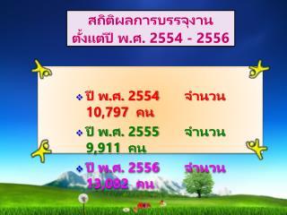 สถิติผลการบรรจุงาน  ตั้งแต่ปี พ.ศ. 2554 - 2556