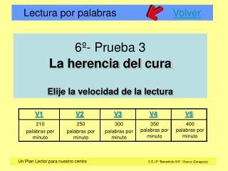 6º- Prueba 3 La herencia del cura Elije la velocidad de la lectura