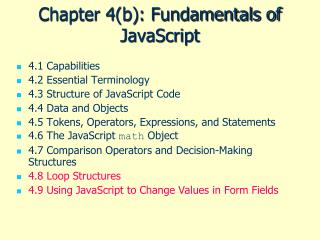 Chapter 4(b): Fundamentals of JavaScript