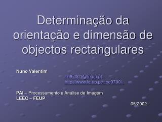 Determinação da orientação e dimensão de objectos rectangulares