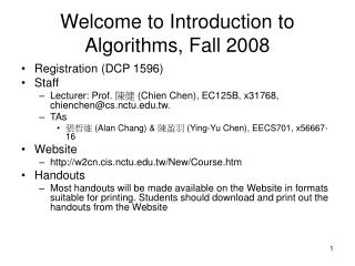 Welcome to Introduction to Algorithms, Fall 2008