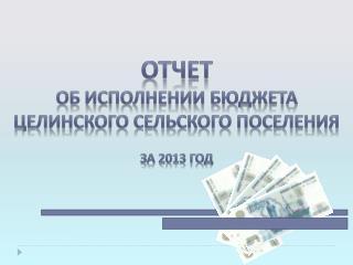 Отчет  об исполнении Бюджета Целинского  сельского поселения  за 2013 год
