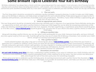 Some Brilliant TipsTo Celebrate Your Kid�s Birthday