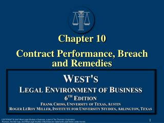 Chapter 10 Contract Performance, Breach and Remedies