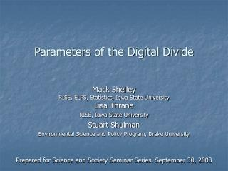 Parameters of the Digital Divide