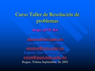 Curso Taller de Resolución de problemas