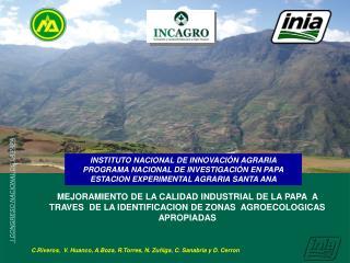 INSTITUTO NACIONAL DE INNOVACIÓN AGRARIA PROGRAMA NACIONAL DE INVESTIGACIÓN EN PAPA