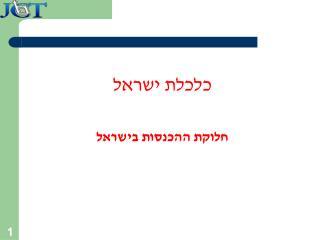 כלכלת ישראל חלוקת ההכנסות בישראל