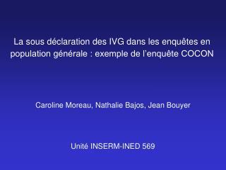 La sous d claration des IVG dans les enqu tes en population g n rale : exemple de l enqu te COCON