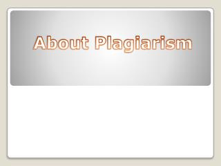 About Plagiarism