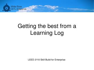 Getting the best from a  Learning Log