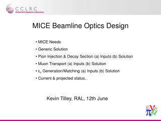 MICE Beamline Optics Design