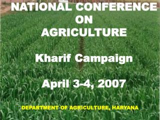 NATIONAL CONFERENCE  ON  AGRICULTURE Kharif Campaign April 3-4, 2007