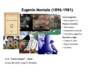 Eugenio Montale (1896-1981)