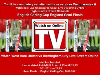 West Ham United vs Birmingham City Live stream Semi Finals