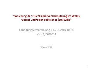 Gründungsversammlung  «IG- Quecksilber » Visp 9/06/2014