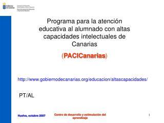 Programa para la atención educativa al alumnado con altas capacidades intelectuales de Canarias