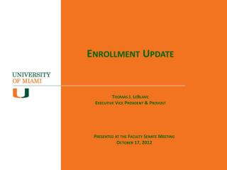 Enrollment Update Academic Affairs Committee Meeting
