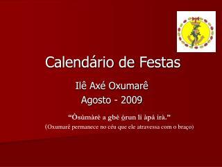 Calendário de Festas