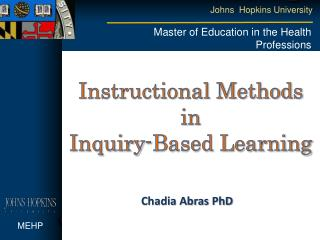 Instructional Methods in  Inquiry-Based Learning