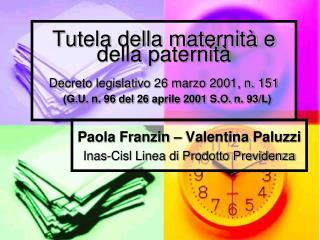 Paola Franzin – Valentina Paluzzi Inas -Cisl Linea di Prodotto Previdenza