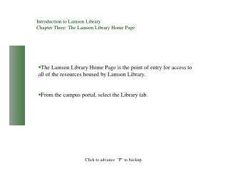 Introduction to Lamson Library Chapter Three: The Lamson Library Home Page