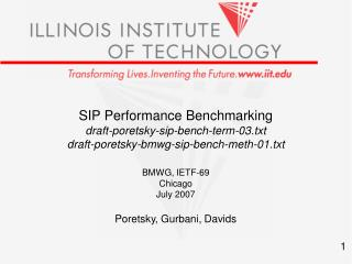 SIP Performance Benchmarking draft-poretsky-sip-bench-term-03.txt